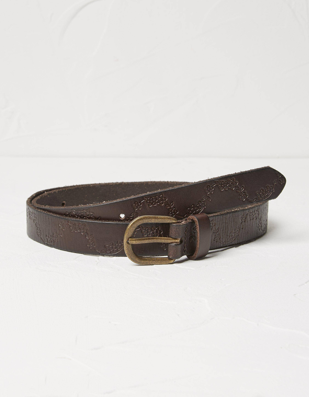 Fat Face Floral Embossed Leather Belt  - Size: Large