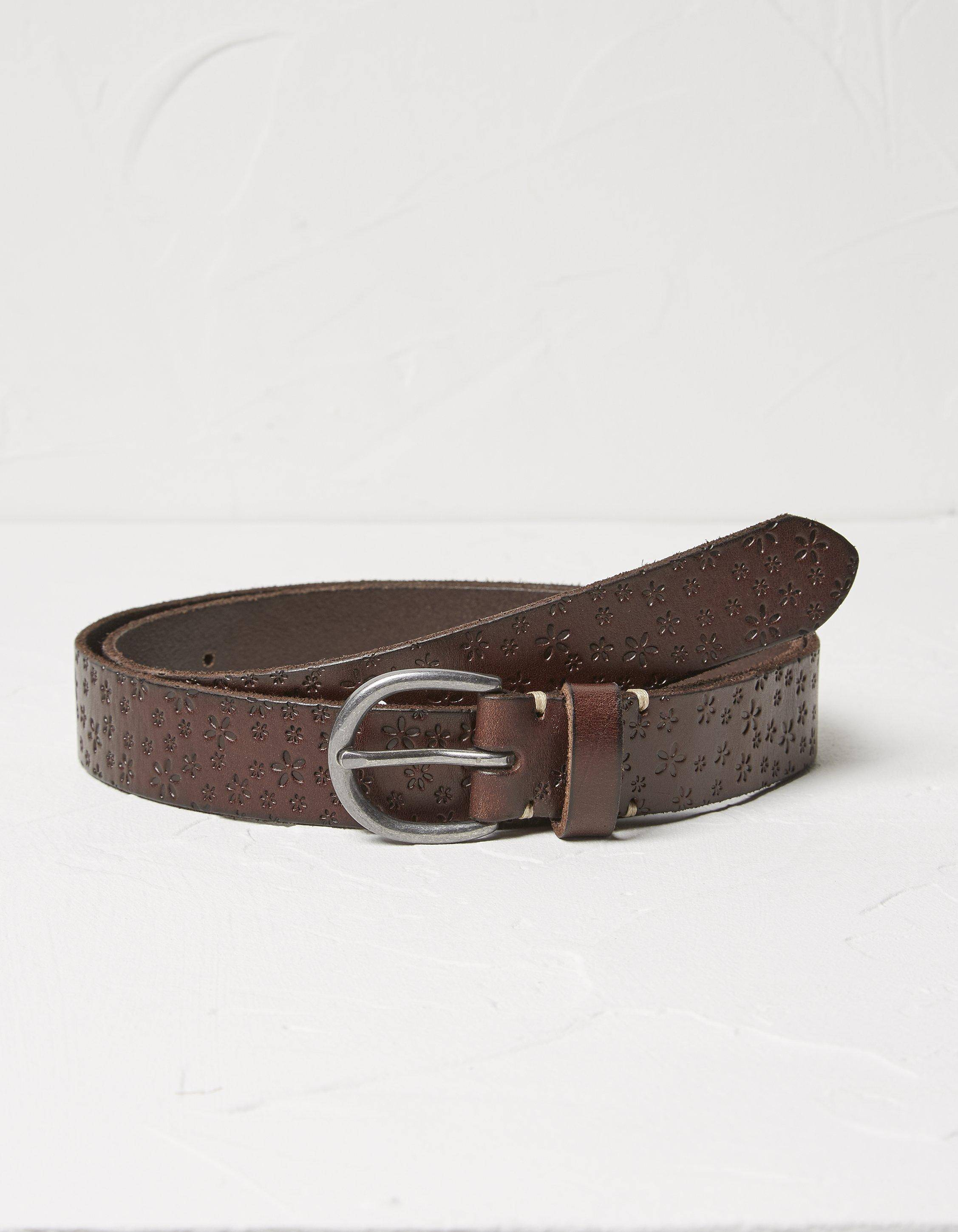 Fat Face Daisy Embossed Leather Belt  - Size: Small