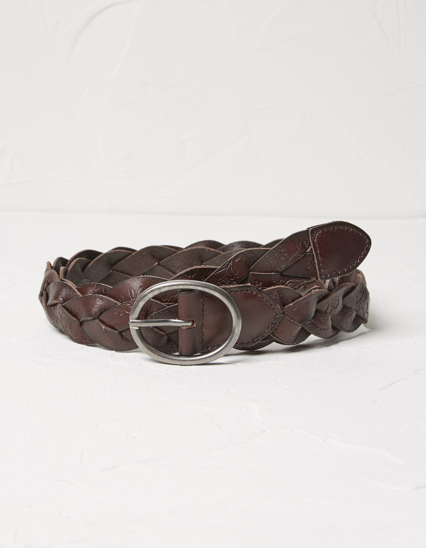 Fat Face Embossed Plait Leather Belt  - Size: Medium