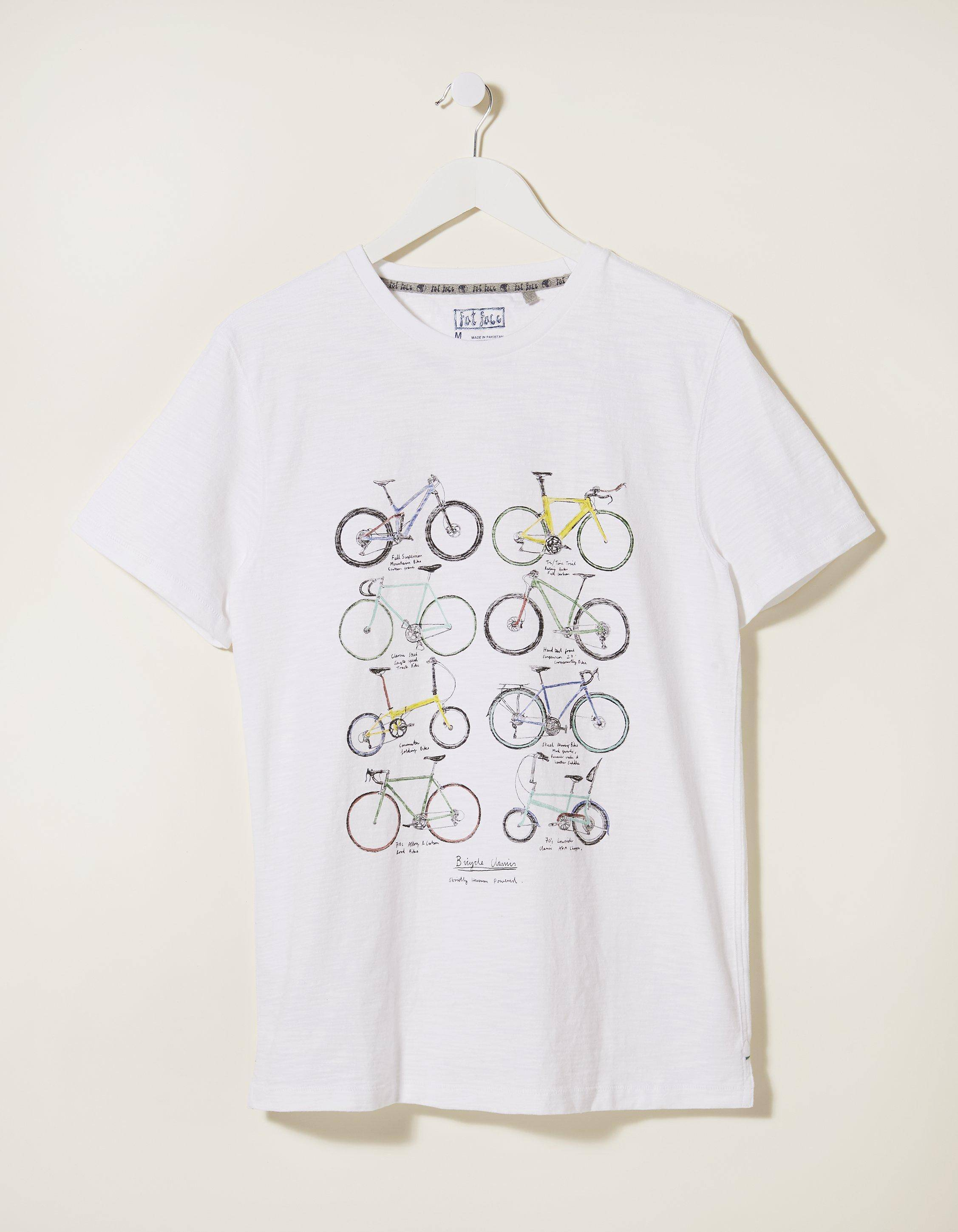 Fat Face Bike Collage Graphic T-Shirt  - Size: Large