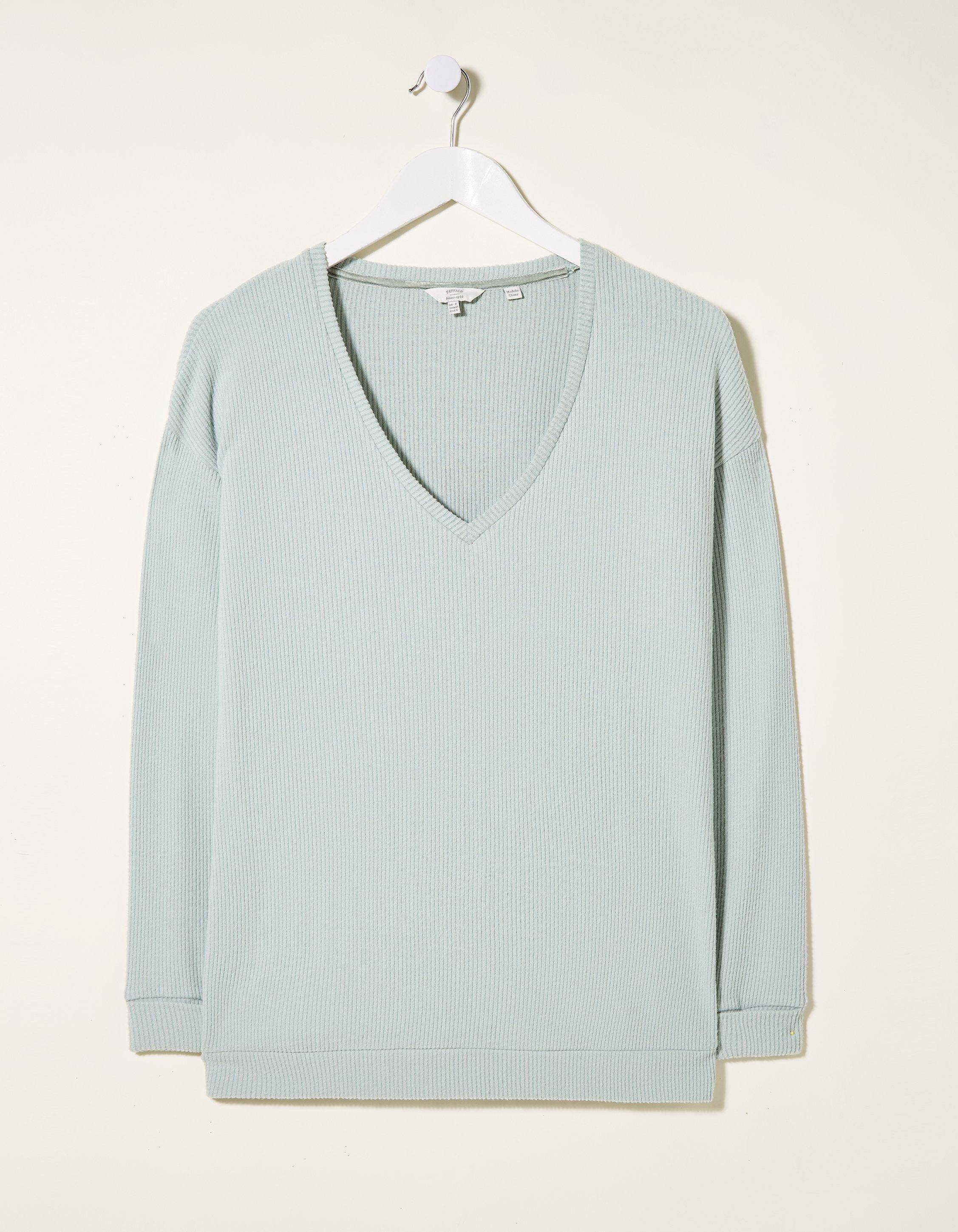 Fat Face Supersoft V Neck Rib Top  - Size: 8