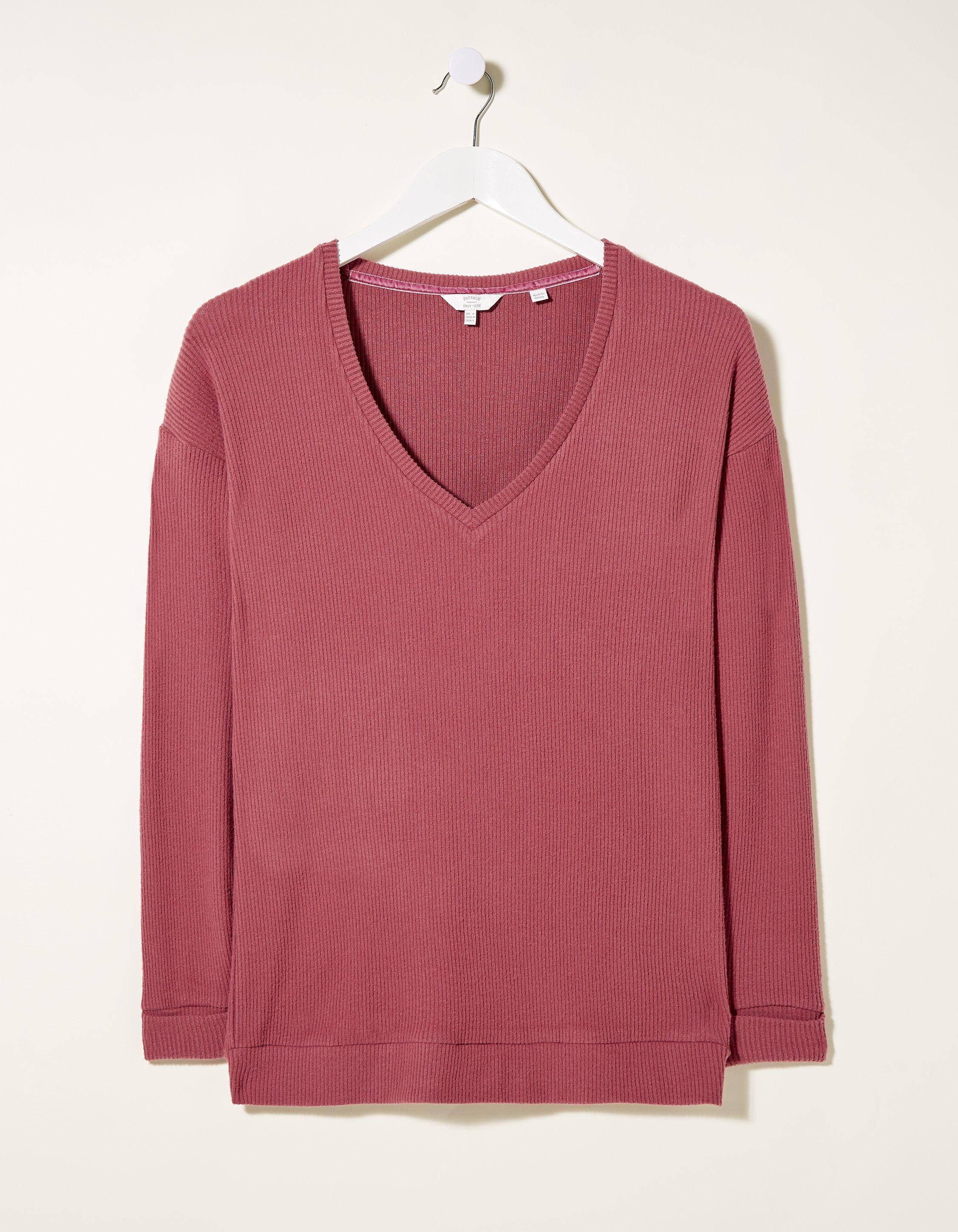 Fat Face Supersoft V Neck Rib Top  - Size: 2