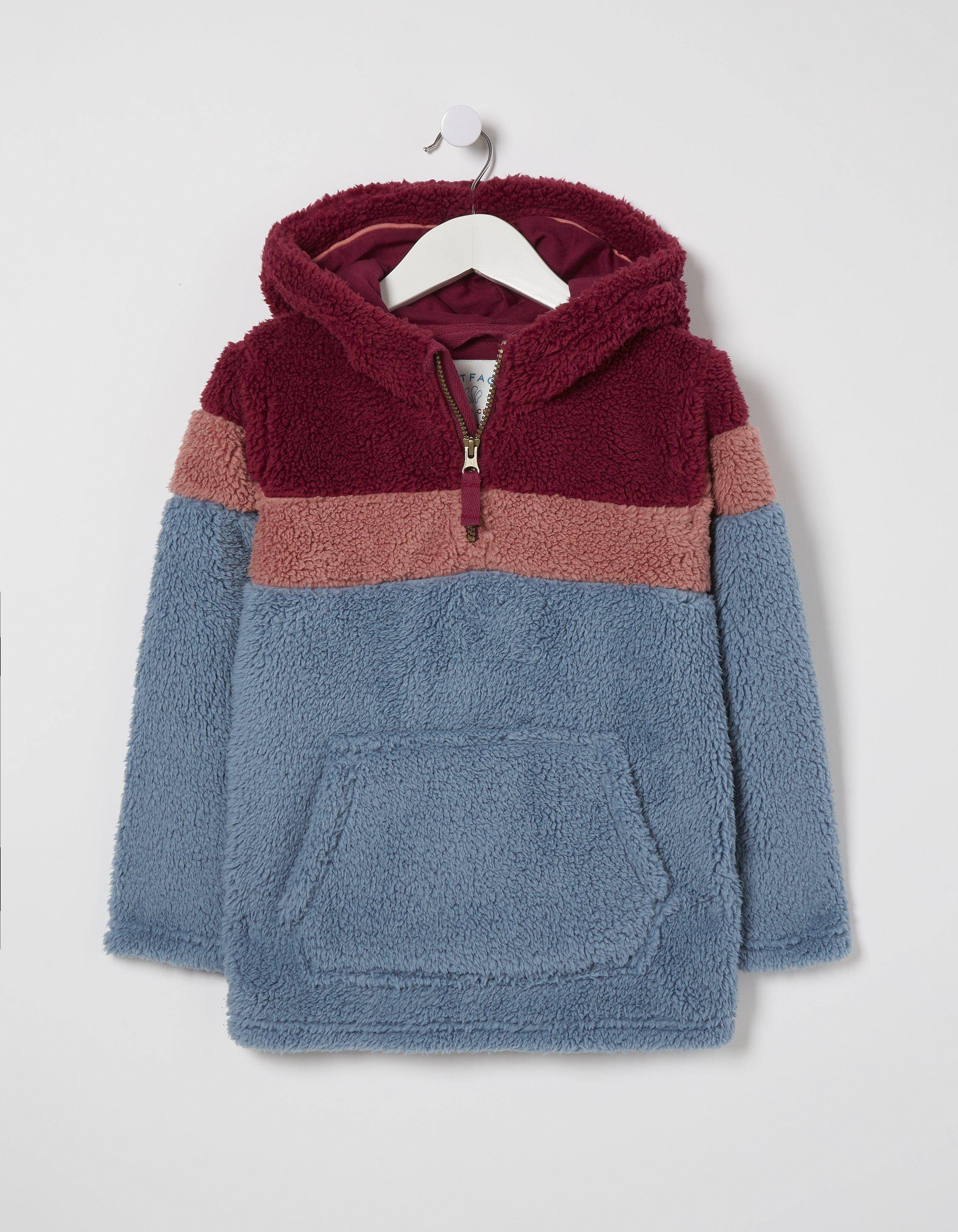 Fat Face Color Block Popover Hoody  - Size: 7-8