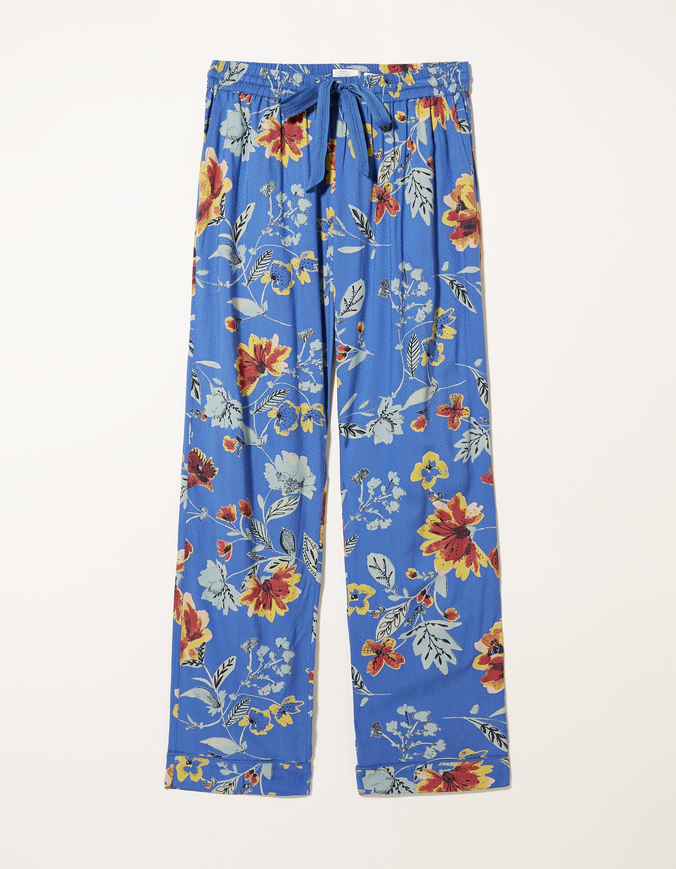 Fat Face Blue Floral Viscose Pants  - Size: 18