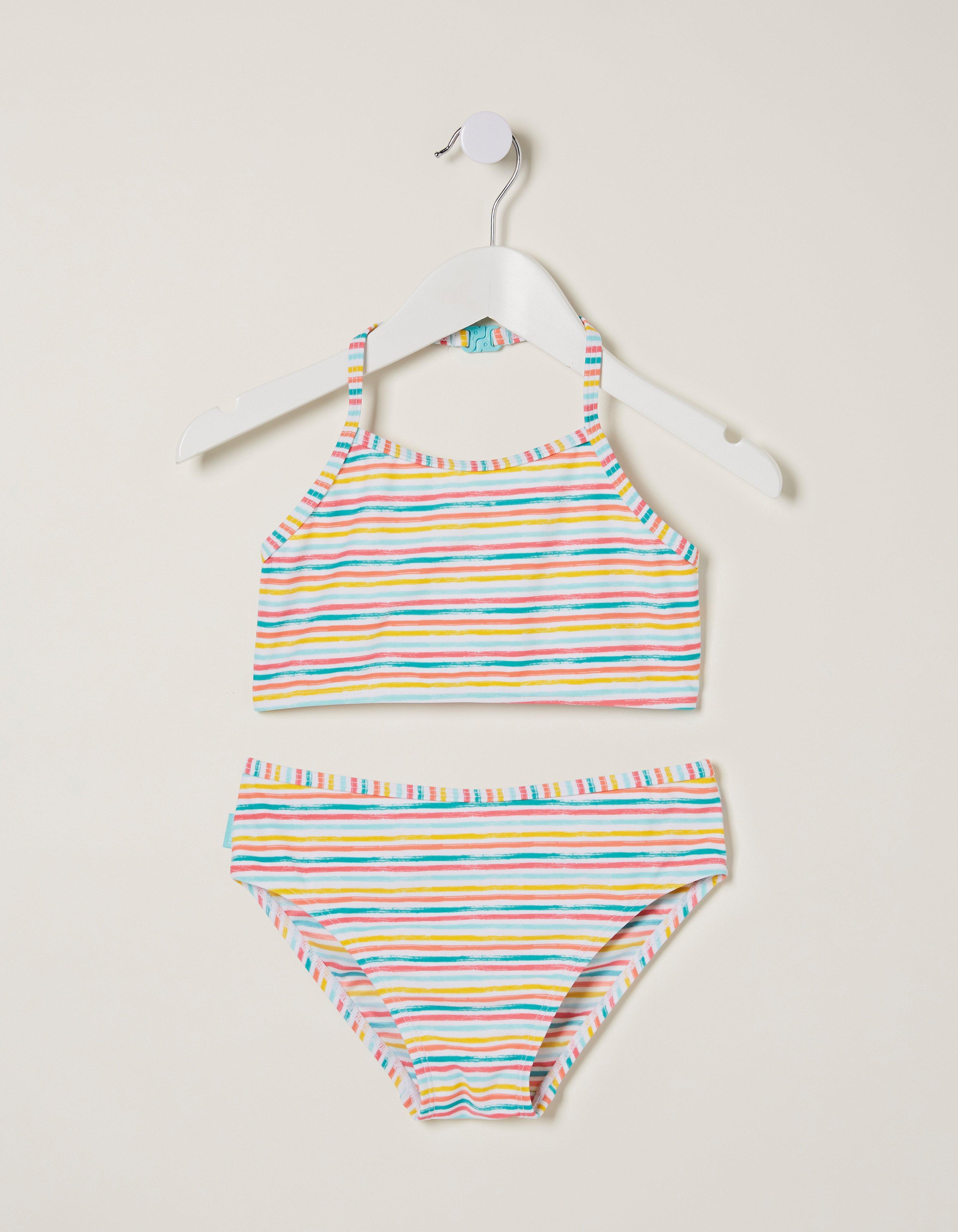 Fat Face Multi Stripe Bikini Set  - Size: 8-9