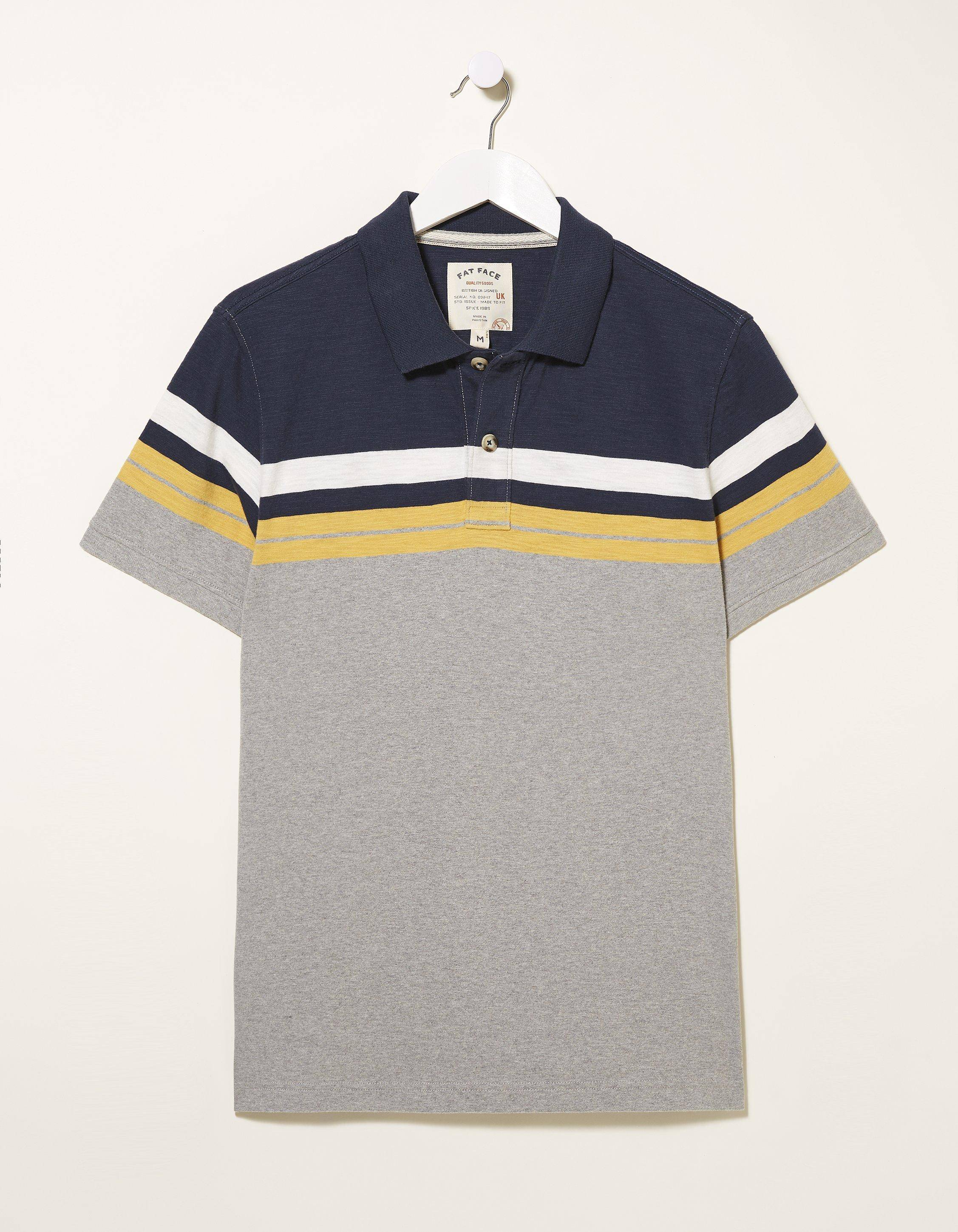 Fat Face Placement Stripe Polo Shirt  - Size: Small