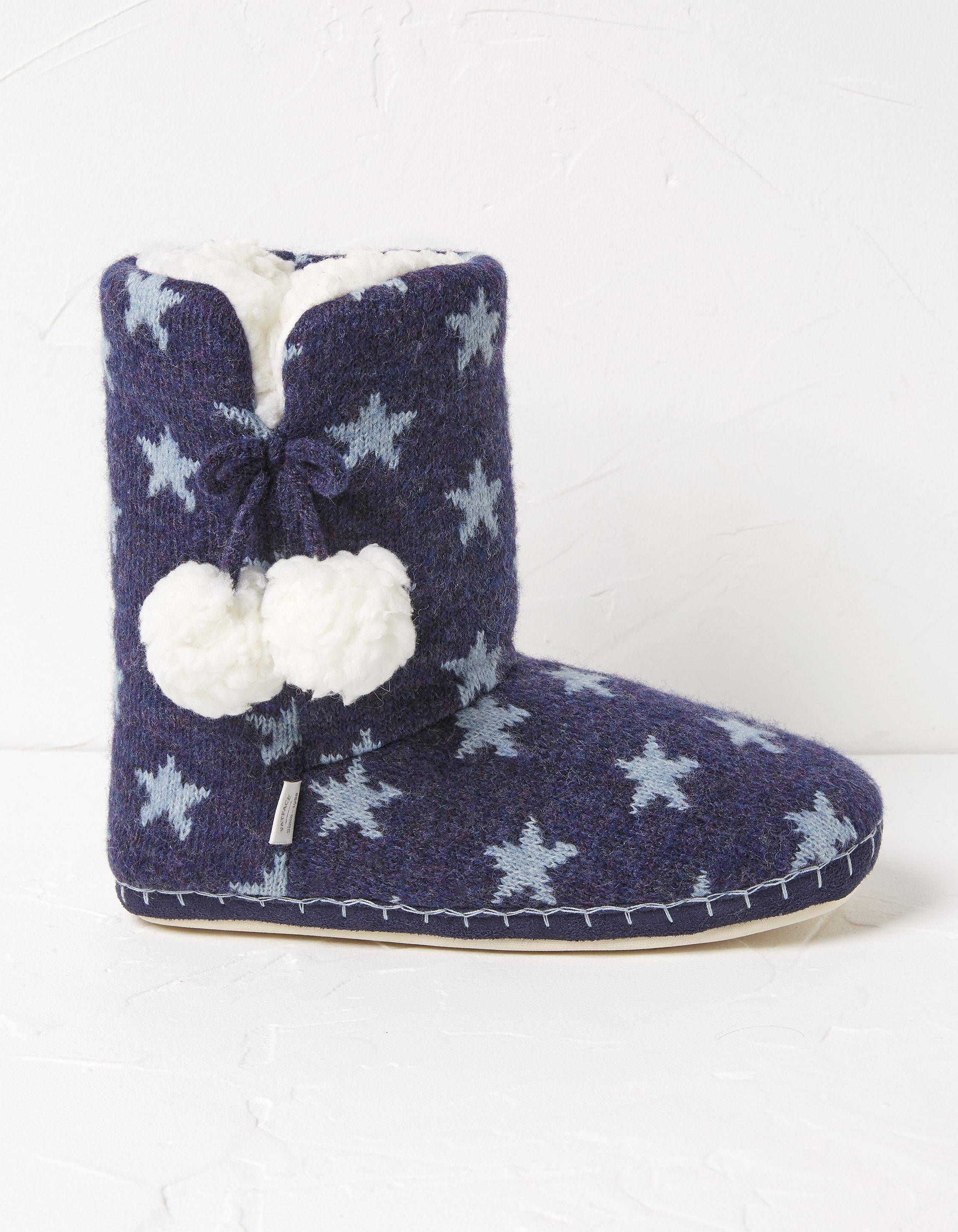 Fat Face Star Knit Slipper Boots  - Size: Extra Large