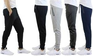 Men's Slim-Fit French Terry Joggers with Regular or Zipper Pockets (S-2XL)