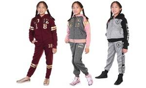 Big Girls' Fleece- or Sherpa-Lined Hoodie and Joggers Set