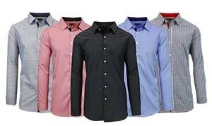 Men's Slim-Fit Long-Sleeved Solid or Printed Dress Shirt (Extended Sizes Available)