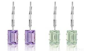 2.00 CTW Genuine Amethyst Emerald Cut Leverback Earrings by Valencia Gems (1 or 2 Pairs)