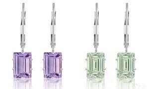2.00 CTW Genuine Amethyst Emerald Cut Leverback Earrings by Valencia Gems (1 or 2 Pairs)