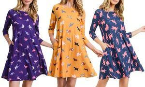 Style Clad Women's Dog, Cat, or Birds Retro Print Dress. Plus Sizes Available