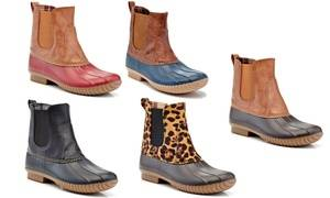 Henry Ferrera Women's Ankle-Height Elastic Solid or Printed Waterproof Pull-On Duck Boots