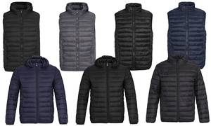 Verno Men's Quilted Puffer Lightweight Jacket or Vest with Optional Hood (S-2XL)