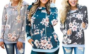 Lilly Posh Women's Floral or Camo Hoodie with Drawstrings. Plus Sizes Available.
