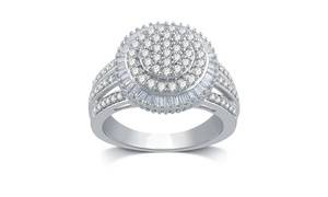 1 CTTW Diamond Cluster Engagement Ring in 10K White Gold or Sterling Silver by DeCarat