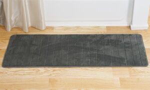 Lavish Home Stripe or Wavy Textured Memory-Foam Oversized Bath Rug Mat
