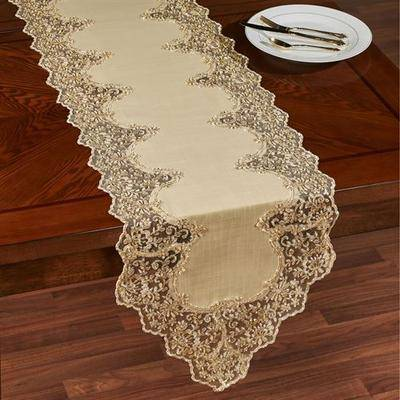 Touch of Class Florentina Table Runner Antique Gold, 16 x 72, Antique Gold