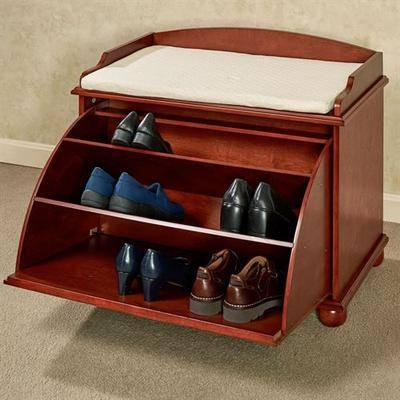 Touch of Class Aubrie Wooden Shoe Storage Bench Classic Cherry , Classic Cherry