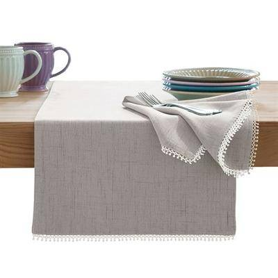 Arlee Home Fashions French Perle Solid Color Table Runner 14 x 90, 14 x 90, Gray