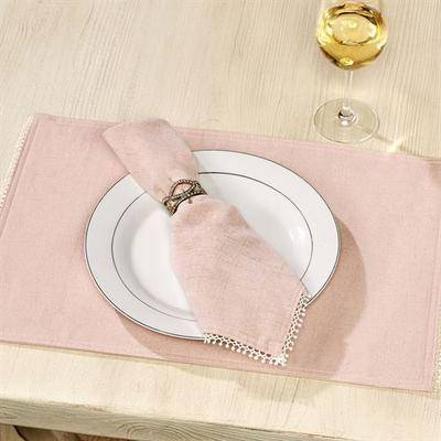 Arlee Home Fashions French Perle Solid Color Placemats Set of Four, Set of Four, Blush