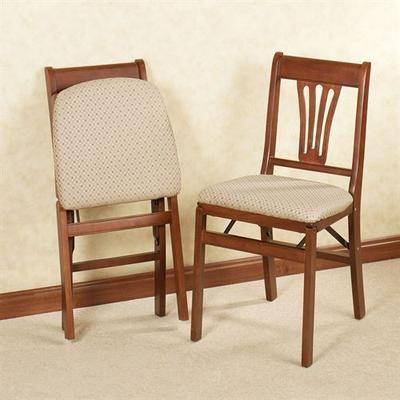 Meco Corporation French Country Folding Chairs Set of Two, Set of Two, Fruitwood