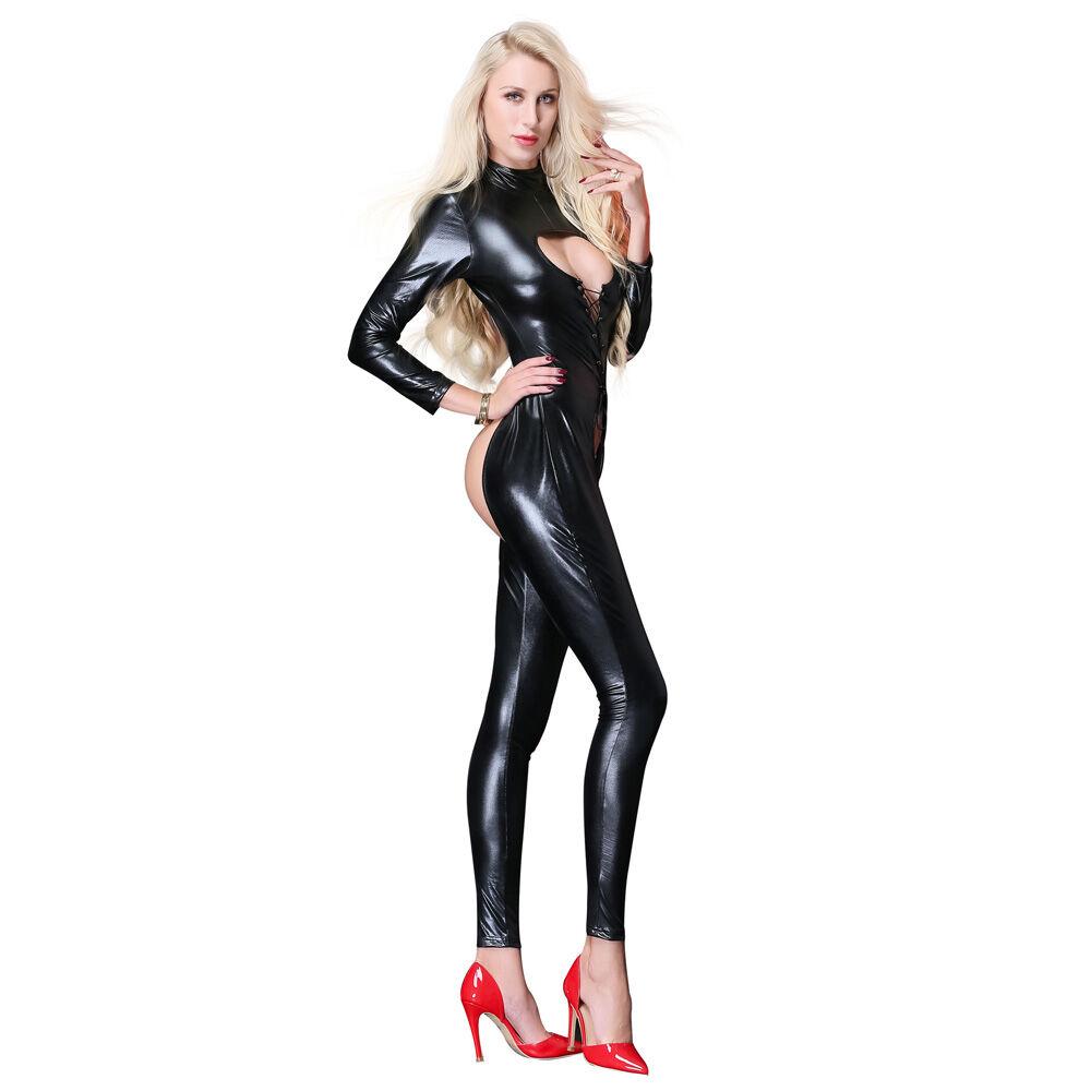 Patent Leather Straps Temptation Tight Bodysuit