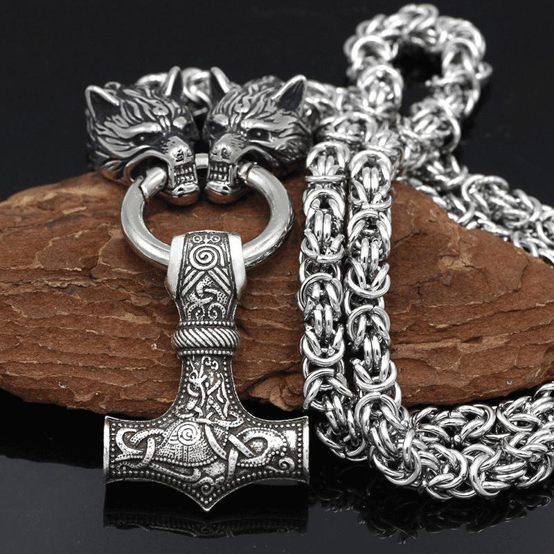Nordic Wolf Mjolnir Stainless Steel Viking Beast Pendant, 70cm