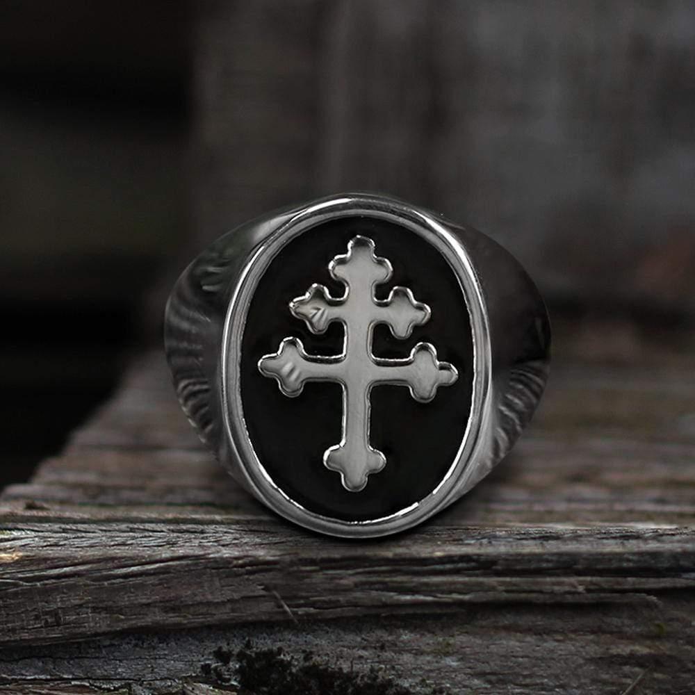 Cross of Lorraine Stainless Steel Masonic Ring, 9.5