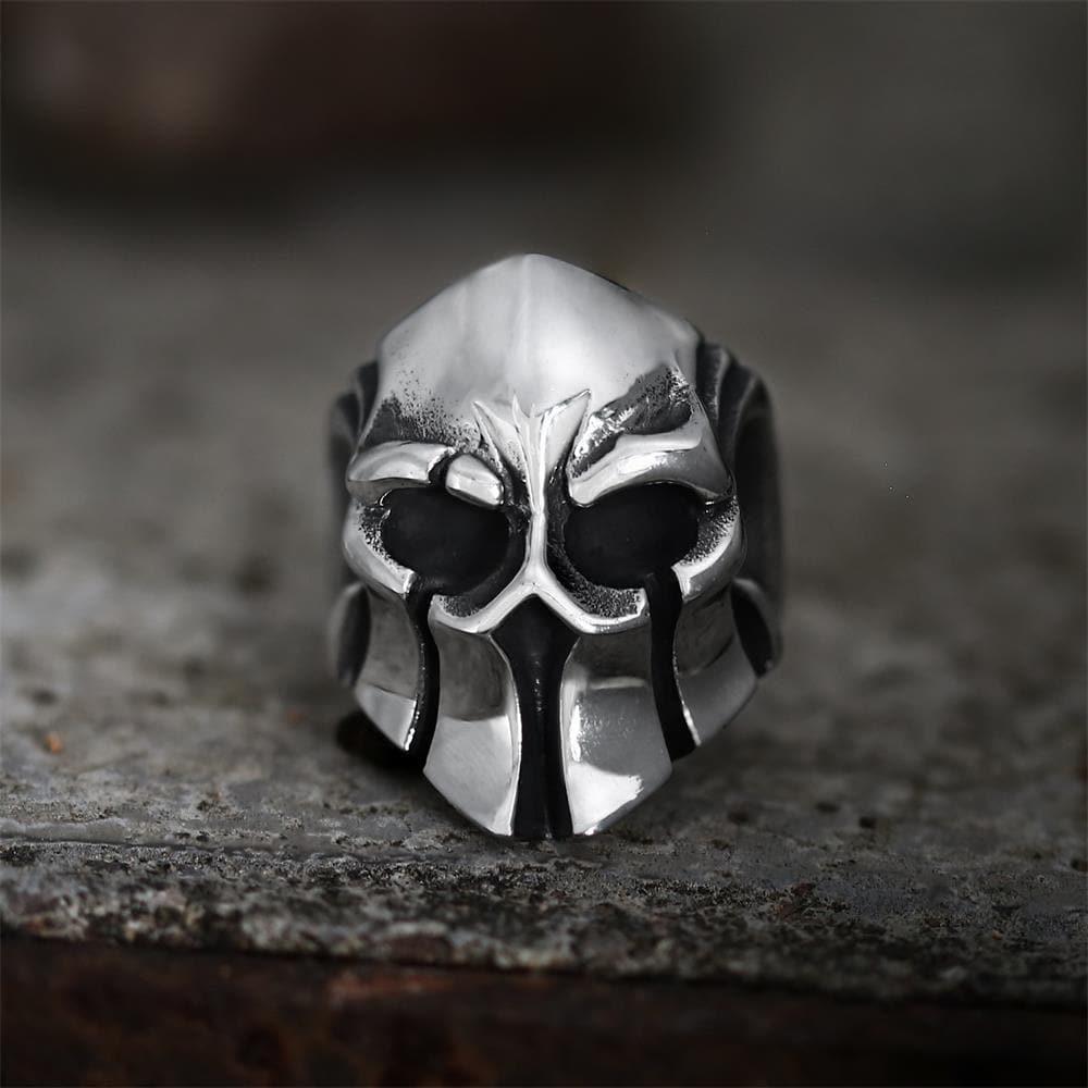 GTHIC Sparta Stainless Steel Skull Ring, 10.5