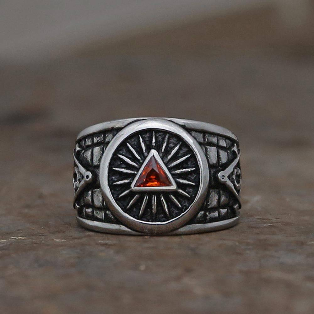 Red Crystal Triangle Stainless Steel Masonic Ring, 10