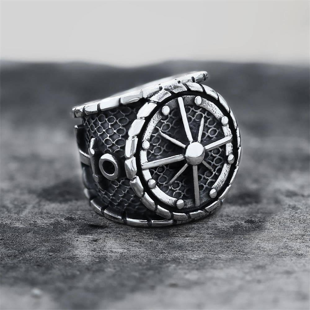Striking Anchor And Compass Stainless Steel Marine Ring, 7.5