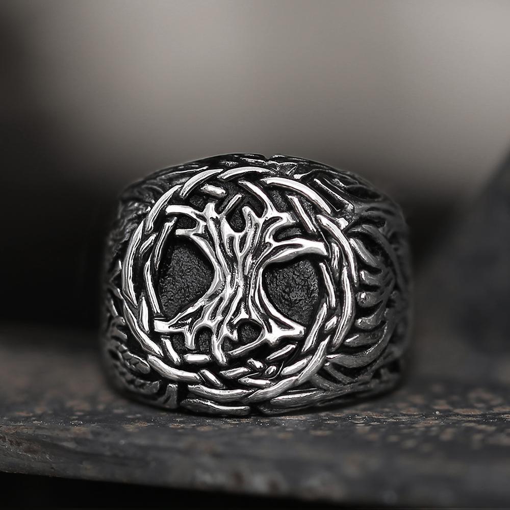 Viking Yggdrasil 316L Stainless Steel Viking Ring, 14