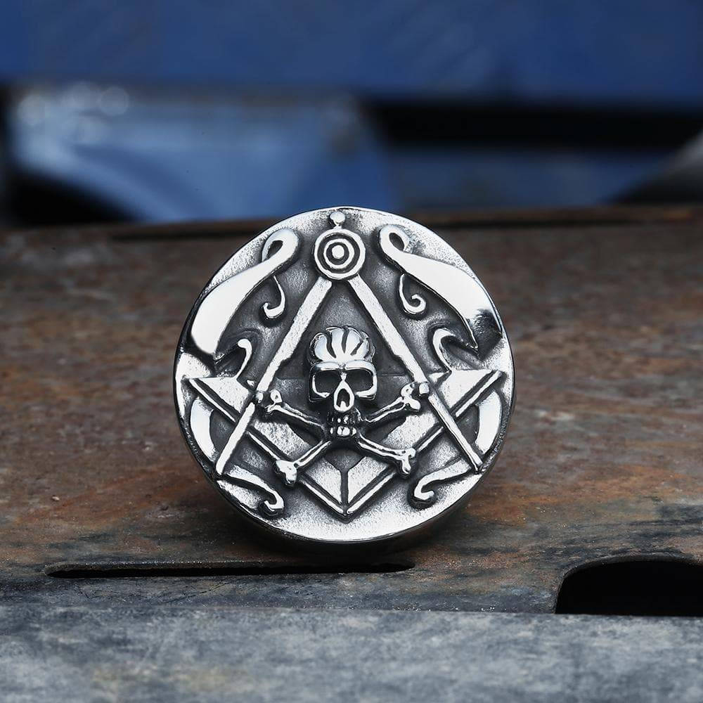 Freemason Crossbones Stainless Steel Masonic Skull Ring, Silver / 13