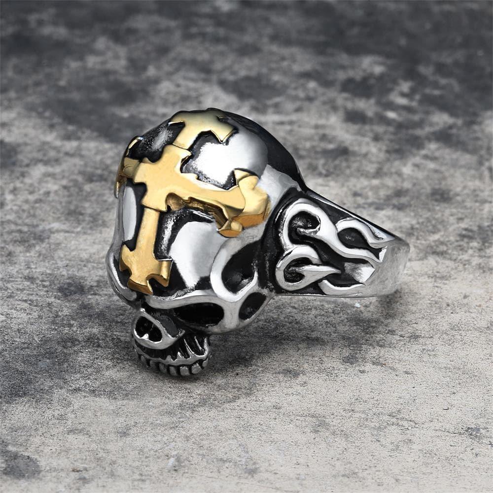 Hell Cross Stainless Steel Skull Ring, Gold / 14.5