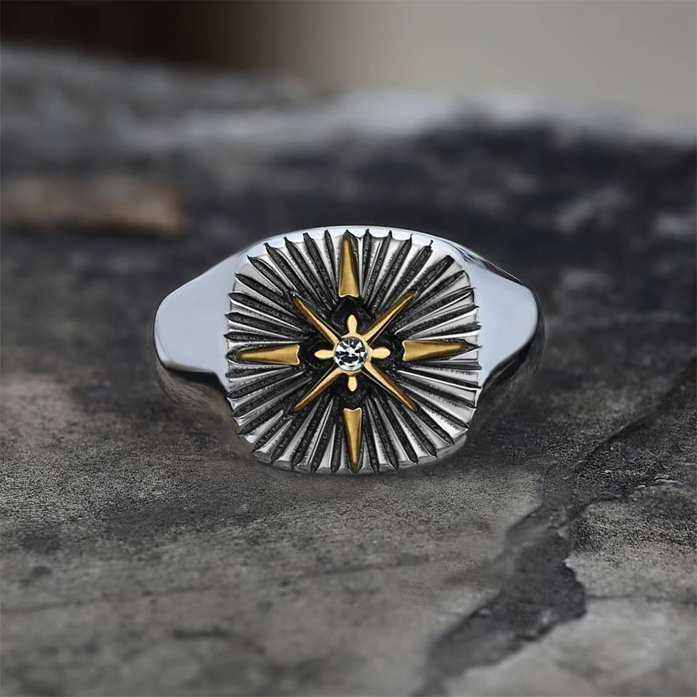 Minimalist Polaris CZ Stainless Steel Ring, Gold / 13