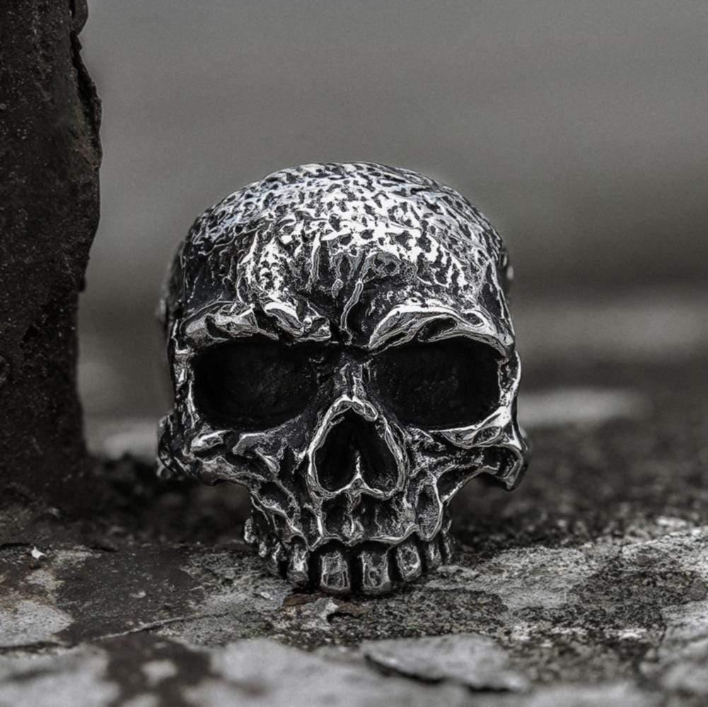 Vintage Rugged Stainless Steel Skull Ring, Stainless Steel / 9