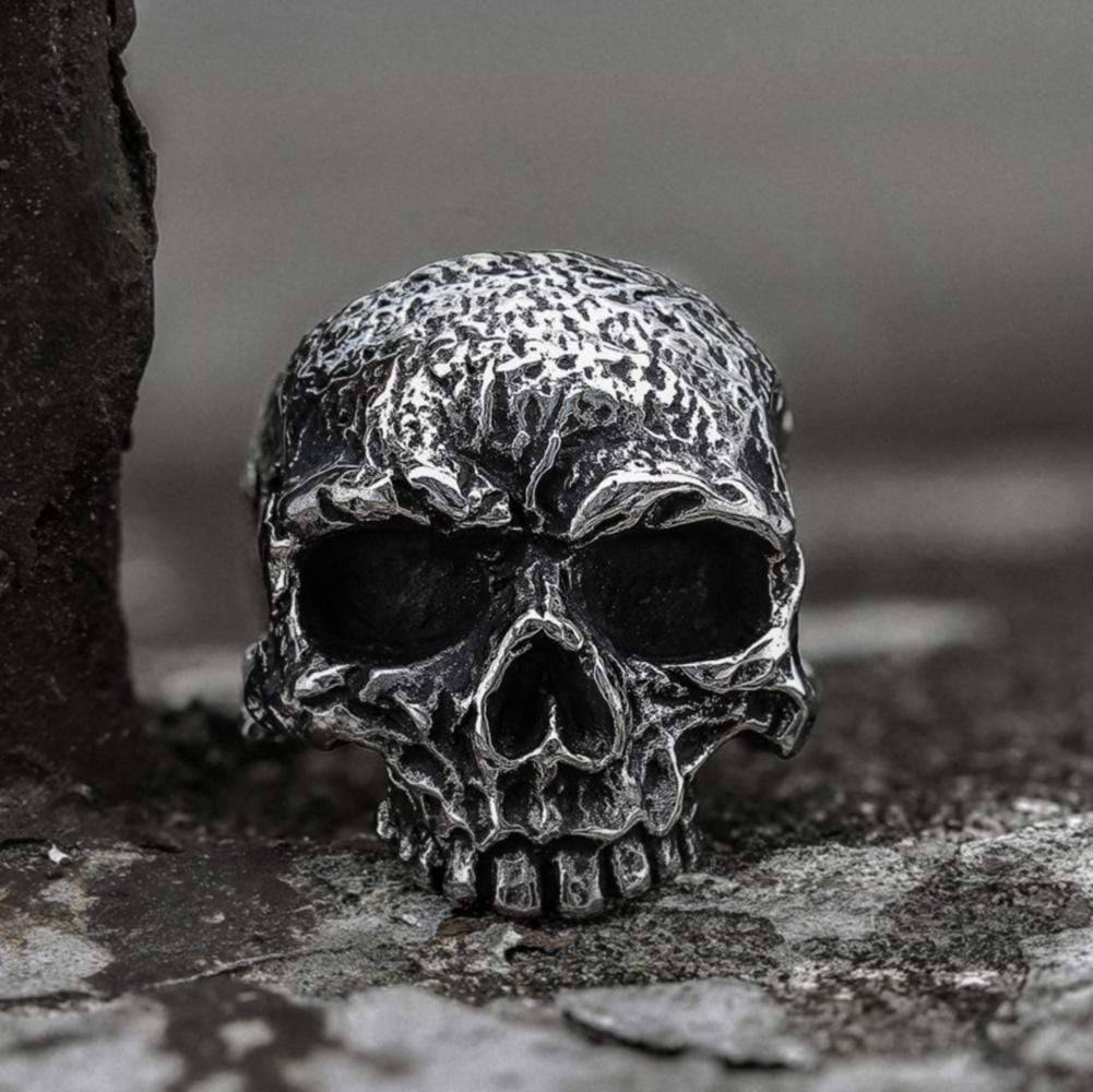 Vintage Rugged Stainless Steel Skull Ring, Stainless Steel / 13