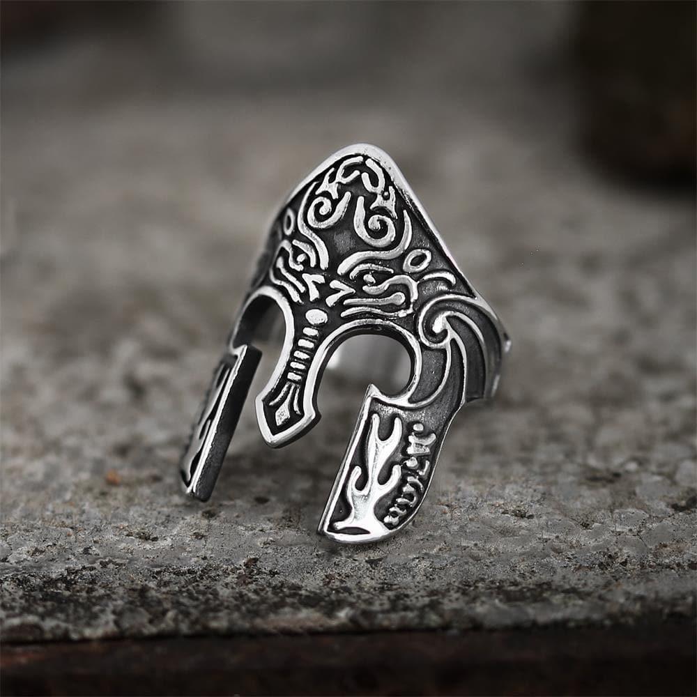 Warrior Helmet Totem Stainless Steel Viking Ring, 7.5