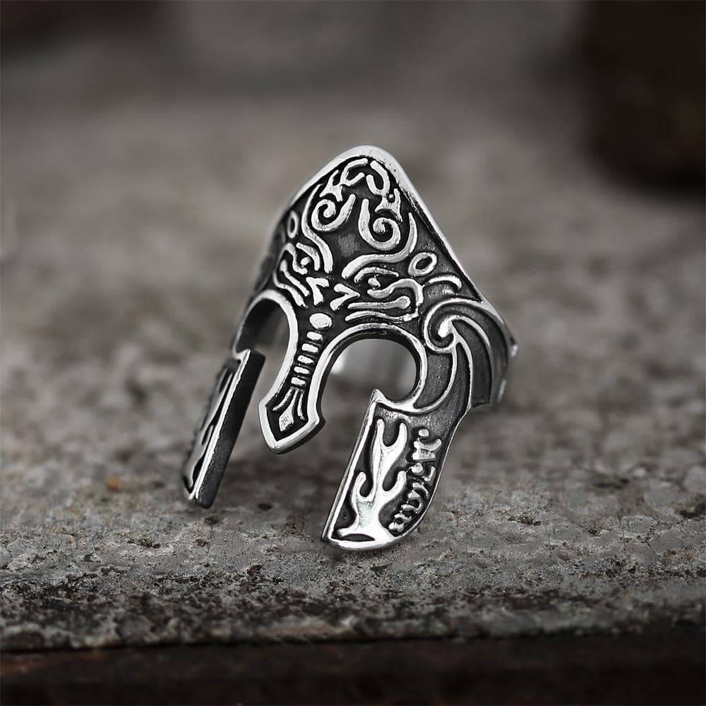Warrior Helmet Totem Stainless Steel Viking Ring, 14