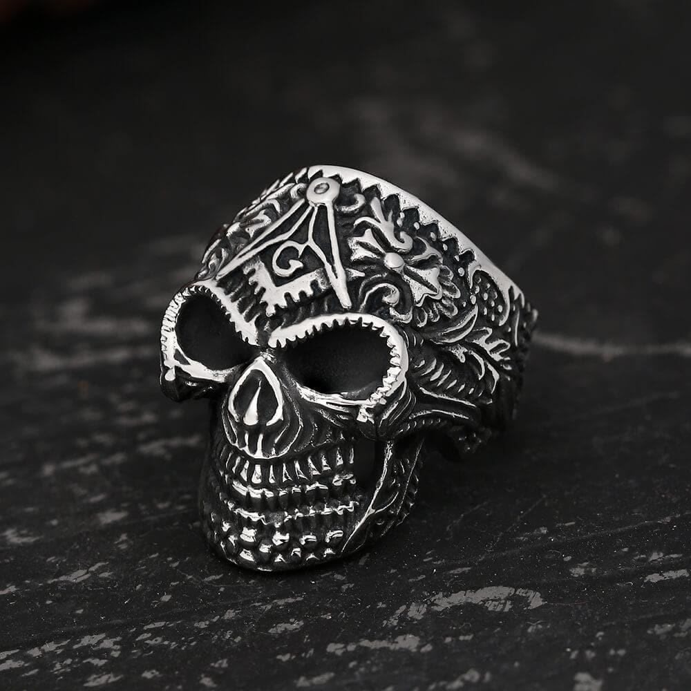 Heavy Metal Masonic Skull Ring, Stainless Steel / 15.5