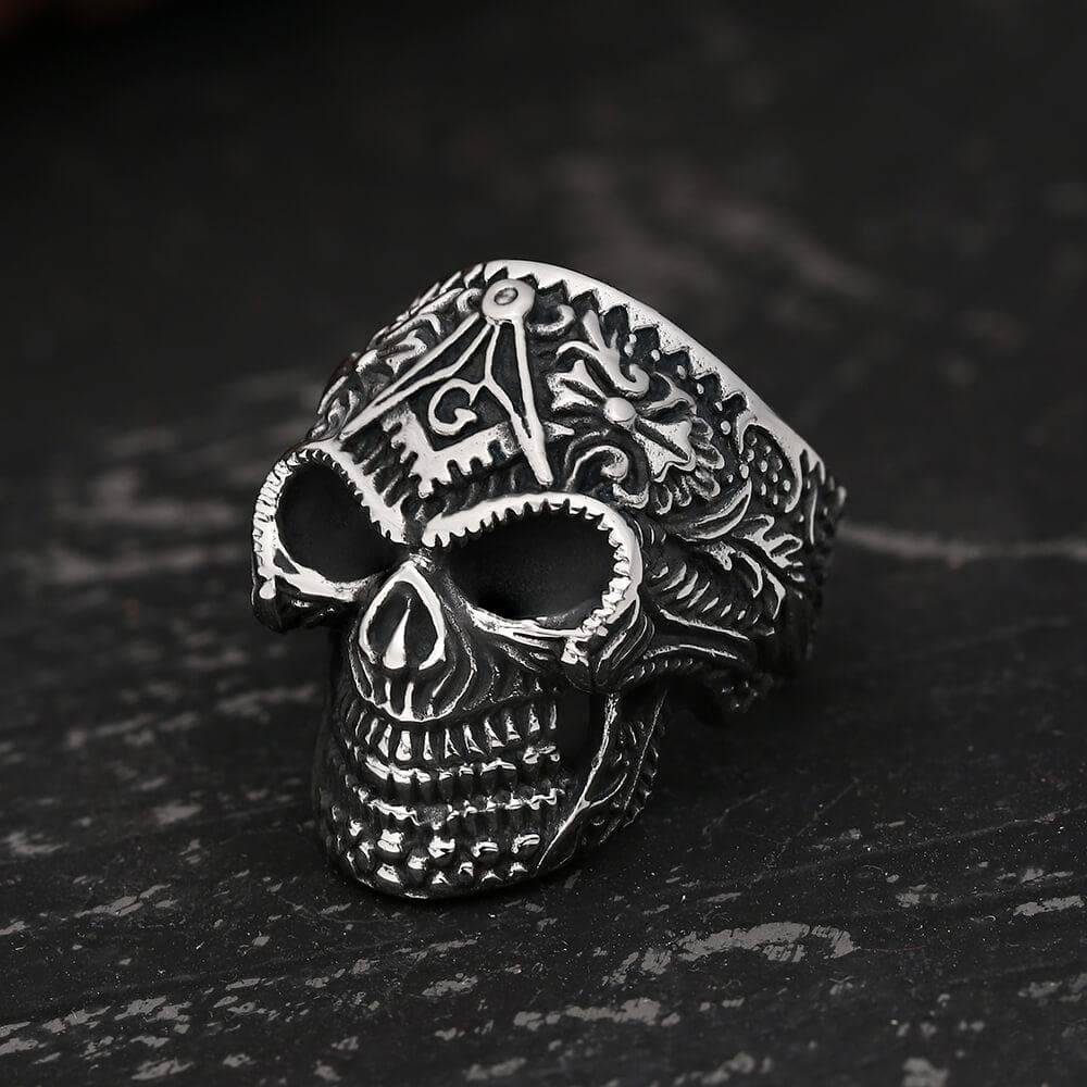 Heavy Metal Masonic Skull Ring, Stainless Steel / 10.5