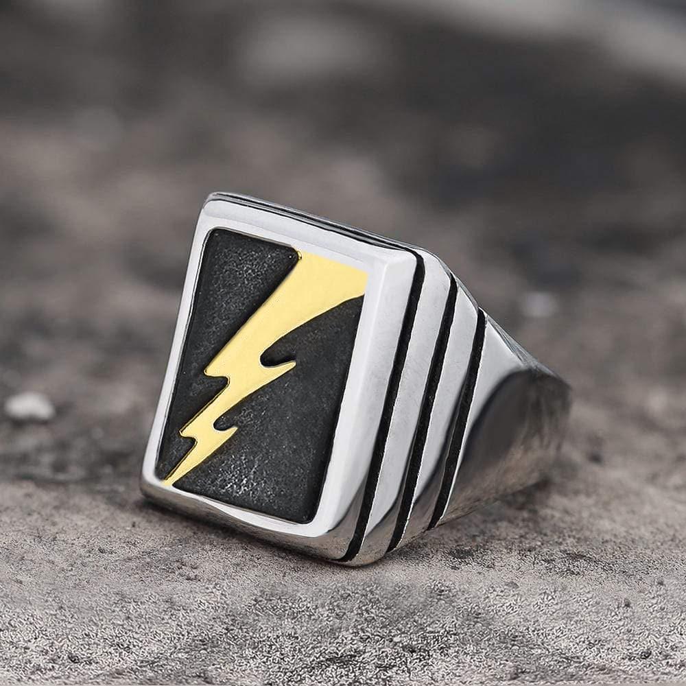 Lightning Bolt Stainless Steel Ring, Silver / Gold / 8