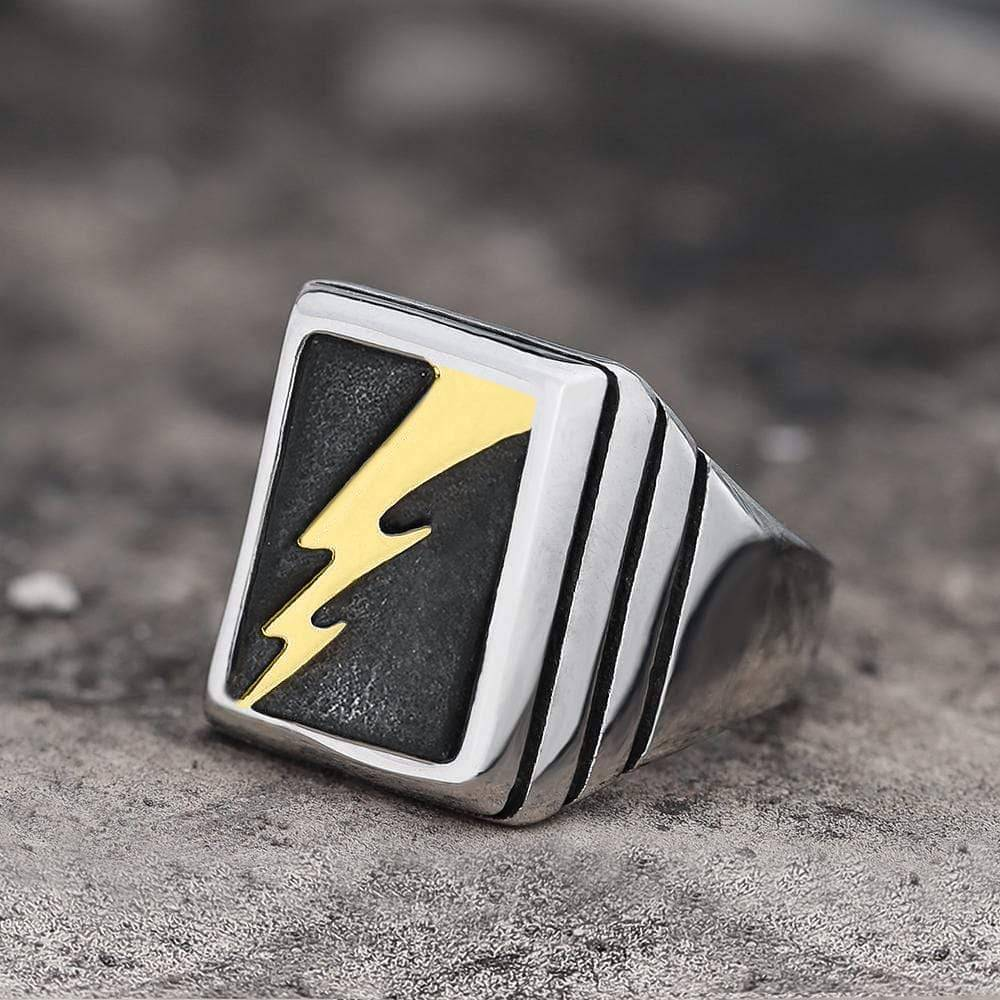 Lightning Bolt Stainless Steel Ring, Silver / Gold / 13