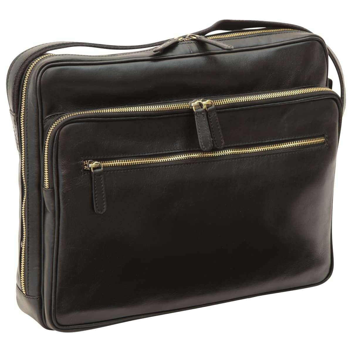 Large leather bag with zip closures - Black