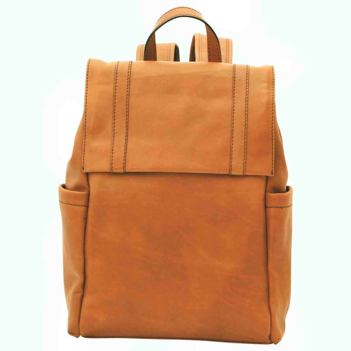 Leather laptop backpack – Gold