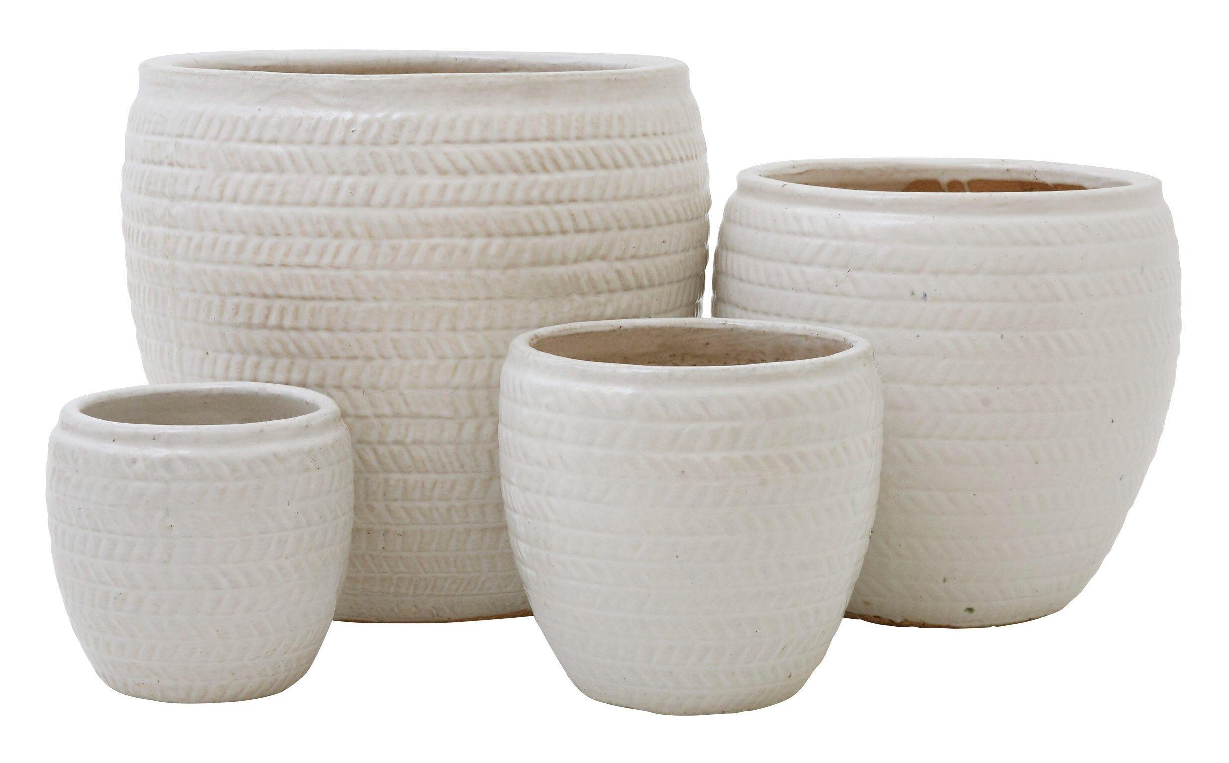 Chevron Round White Pots