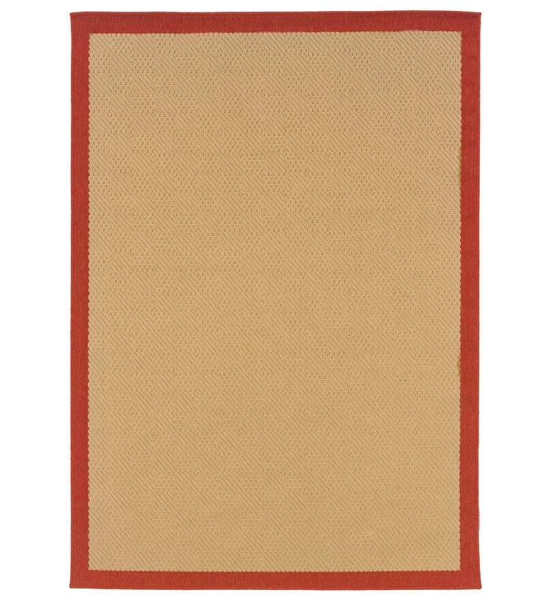 """ORIENTAL WEAVERS USA INC 3'7""""W x 5'6"""" L Indoor / Outdoor Stain-Resistant Lanai Rug, in Brick"""
