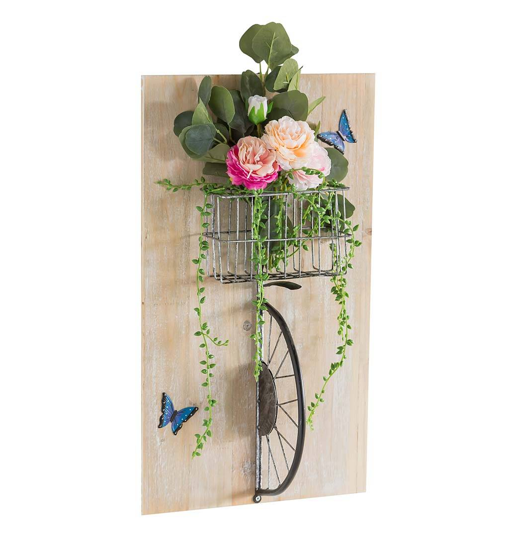 EVERGREEN ENTERPRISES INC. 3D Bicycle with Flower Basket Wall Art